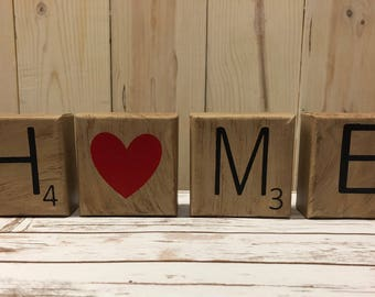 Scrabble Inspired Mini Canvas Home Sign