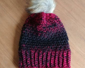 Ombre crocheted hat with faux fur pom pom