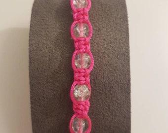 Handmade pink macrame bracelet with cracked glass beads
