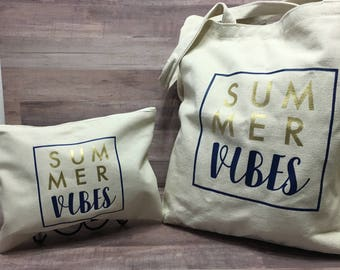Summer Vibes Personalized Tote and Wet/Dry Bag