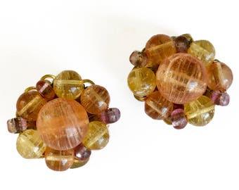 Marvella Orange Bead Cluster Earrings