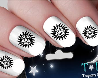 Supernatural nail etsy supernatural tv series horror halloween nail art wraps water transfers nails decals nail stickers ti35 prinsesfo Image collections