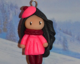 Polymer clay baby dress pink, black hair - winter Collection - handmade jewelry