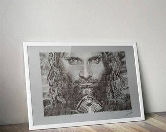 Aragorn from Lord of the rings saga pencil portrait
