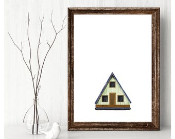 Instant Download Green Triangle Cabin Original Photoshop Illustration