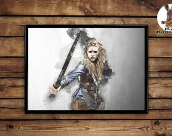 Lagertha poster vikings wall art home decor print