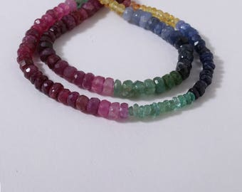 Multi-Sapphire Faceted Rondelles 25 cm 2X1 TO 4x3 MM Approx