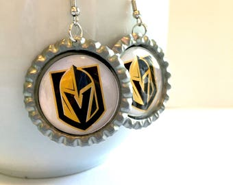 Las Vegas GOLDEN KNIGHTS Handcrafted Hockey Earrings
