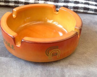 Credit Agricole coloured glass ashtray French Bistro style