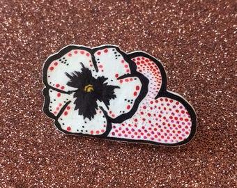 Hand Drawn Pansy Heart Cloud Brooch Pin