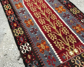 4.92x2.95 Feet.Kilim,Antique Rug,Turkish Kilim,Turkish Rug,Vegetable Dyed,Vintage rug,Boho Rug,Handwoven,Rug Floor Rug,150x90 CM