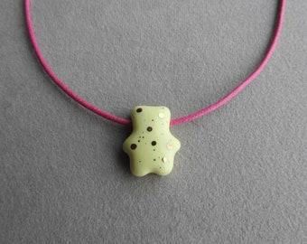 Ceramic bear necklace
