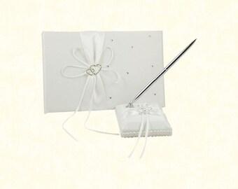2pcs/lot Satin Bows Wedding Guest Book with Pen