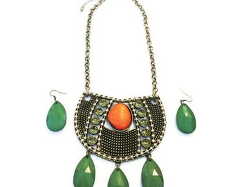 Green tribal designer neck piece set with a crystal finish green bead danglings