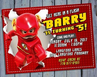 Lego The Flash Invitation, DC Comics Birthday, Super Heroes Movie Party Invites, Digital Card Printables, Printable Personalized Invite