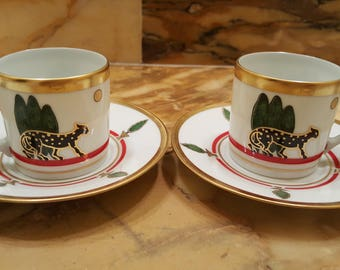 Set Two coffee cups signed Cartier