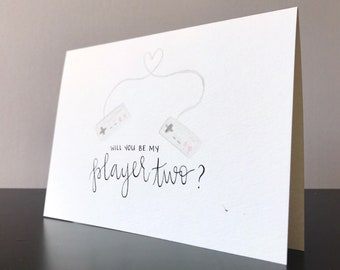 personalized card / hand painted card / video game card / gamer card / custom card / hand lettering / watercolour card / love card / pokemon