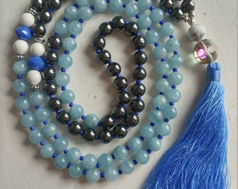 Aquamarine, Chrome, and Howlite Mala Necklace