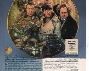 Three Stooges Collector Plate Vintage Print Ad 1994