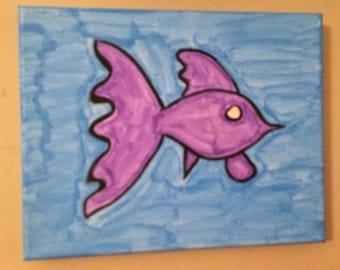 Fish painting original painting 8 x 10