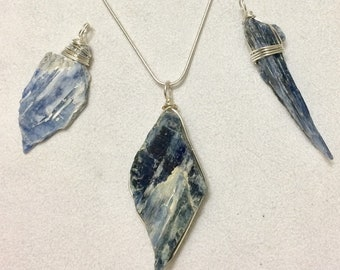 Kyanite Pendant Silver Necklace-Hand Made in the USA