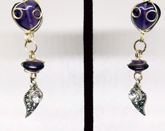 Purple glass wired beads, leaf charms