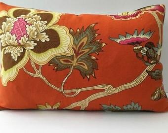 Bright Orange Cream Woodsy Floral Decorator Throw Pillow rectangle