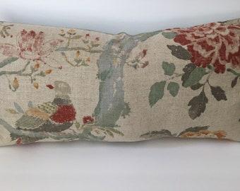 Floral Bird Taupe Green Decorator Throw Pillow 12x23 rectangle