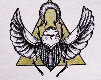 Scarab beetle tattoo design or print