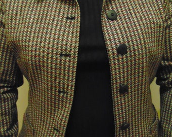 Vintage 80's Wool and Suede Jacket Blazer Size 14