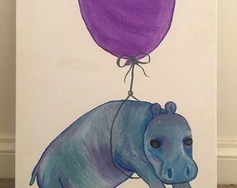 Baby Hippo Canvas