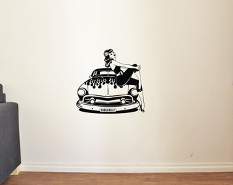 Cool Retro Car Flame Girl Pin Up Man Cave Garage Home Kids Room Wall Decals Vinyl Decor Stickers MK1490