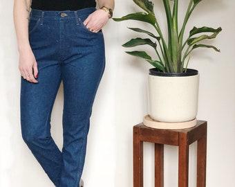 Vintage Wrangler Jeans Size 27, High Waist, Straight Leg, Dark Blue Wash