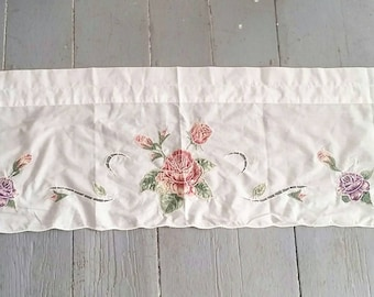 """Large White Embroidered Window Curtain. Large White Embroidered and Appliquéd floral curtain. White window topper. 60 x 13""""."""