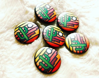 """Stained Glass Saguaro Pinback Buttons: 1"""""""