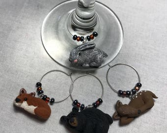 Woodland Wine Glass Charms, Set of 4