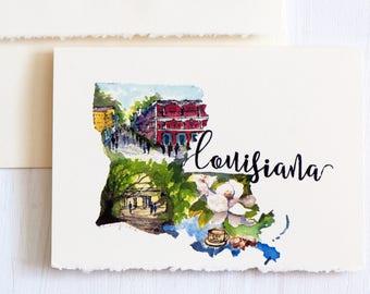 Louisiana State Map Art,Long Distance State Art Card,StateLove, USAMap,Louisiana Souvenir,Louisiana Art, louisiana map, Watercolor Louisiana