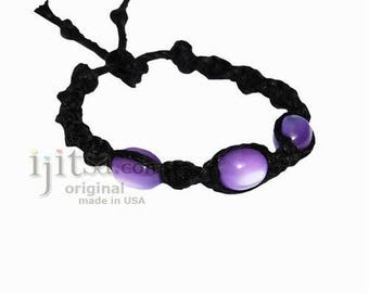 Black twisted hemp purple resin beads surfer style bracelet or anklet
