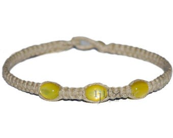 Natural flat hemp necklace with yellow resin beads