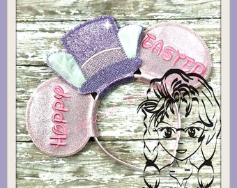 EaSTER Mr BuNNY Happy Words (3 Piece) Mr Miss Mouse Ears Headband ~ In the Hoop ~ Downloadable DiGiTaL Machine Emb Design by Carrie