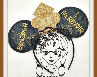 Small World France Clock Inspired (3 Piece) Mr Miss Mouse Ears Headband ~ In the Hoop ~ Downloadable DiGiTaL Machine Emb Design by Carrie