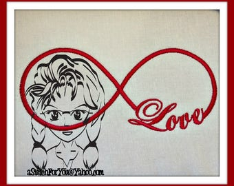 LOVE INFINITY - Valentine or Wedding Gift Pillow Photo Frame ~ Downloadable DiGiTaL Machine Embroidery Design by Carrie