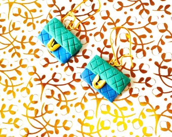 Earrings THE LITTLE CLUTCHES, miniature, handmade, polymer clay, mint green and blue, by The Sausage