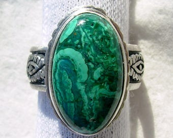 Chrysocolla Malachite high dome cabachon MAGNIFICENT  sterling silver wide band ring recycled vintage sterling jewelry Chelle' Rawlsky 8.5+