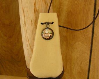 "Cream leather drawstring pouch with Wyoming charm, adjustable drawstring neckcord, 3"" x 1 1/2"", talisman bag"