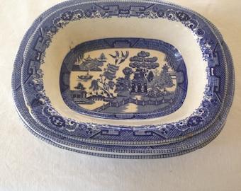 Vintage Blue Willow Nesting Oval Serving Bowls Set Three Deep Cobalt Blue Transferware Country Kitchen Decor Buffalo China 1911