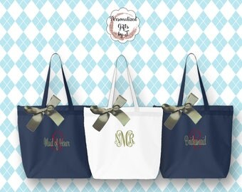 Personalized Zippered Tote Bag Bridesmaid Gift Monogrammed Tote, Bridesmaids Tote, Personalized Tote