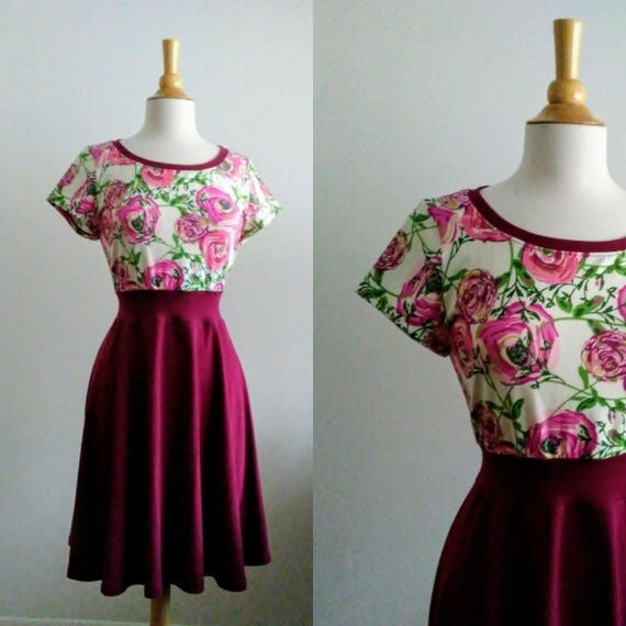 Ooak Burgundy Floral Womens Dress Size LARGE stretch Cotton short sleeve Full swing dress summer party dress fit and flare - Ready to Ship