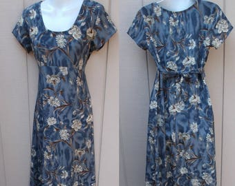 90s Vintage Blue and Brown FLORAL Tie-Back Empire Dress by All That Jazz // Size Med