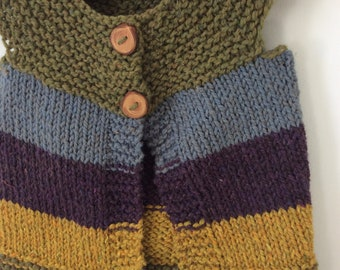 Hand Knit Wool  Baby Vest 12 - 18 Months